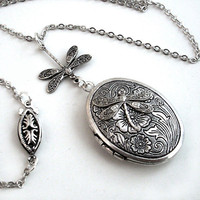 Etched Silver Locket - Flight of the Dragonfly Necklace Jewelry Jewellery