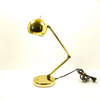 vintage mod desk lamp, tensor lamp, dorm room, home office, atomic, gold decor, metallic gold, mid century, retro, lamps, lighting, 60's