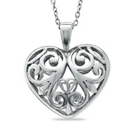 Filigree Puffed Heart Pendant in Sterling Silver
