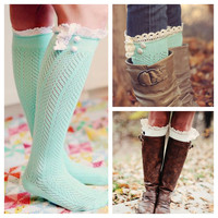 Parisian Lace Socks - Mint/Cream