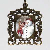 Snowman Necklace, Winter, Christmas Jewelry, Rectangle Pendant