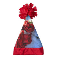 Red Rose Bouquet in The Snow Santa Hat