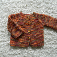 Knit Hand Made Cardigan / Sweater with Wooden Buttons Pure Merino Wool Reglan Style Wooden Buttons Autmn colors