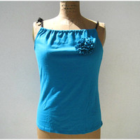 T Shirt Tank Top / Aqua Blue / Upcycled / Recycled / L / Eco Friendly / Cotton / Soft / Gift for Her / Handmade / Spring / ohzie