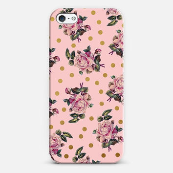 feminine pretty iphone case- floral- pink- gold dots- samsung case- floral pattern- modern vintage