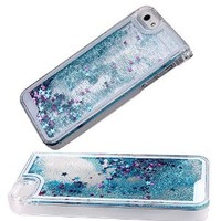 Case for iPhone 5s,Cover for iPhone 5s,Case for iPhone 5,Hard Case for iPhone 5s,Nsstar™ Creative Design Flowing Liquid Bling Glitter Hard Case for Apple iPhone 5 5S with 1PCS Free Cup Mat Color Random(Blue)