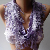 Lilac - Elegance  Shawl // Scarf with Lacy Edge
