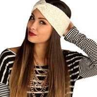 Sale-ivory Woven Basic Headwrap