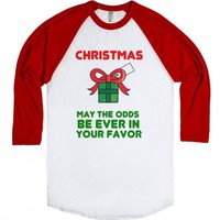 CHRISTMAS MAY THE ODDS BE EVER IN YOUR FAVOR HUNGER GAMES | Raglan T-shirt | Skreened