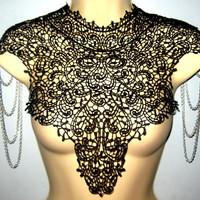 Steampunk lace collar black bib detachable collar necklace with silver chain epaulets epaulettes BODY TATTOO
