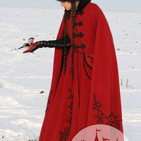 Medieval Fantasy Wool Coat &quot;Queen Of Shamakhan&quot;
