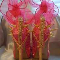 High Heel Platform Spiked Women Shoes Hot Pink size 8...A SpikesByG Design