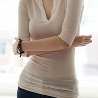 Cotton White Cut Neckline Mid-Sleeves Top@XYZ9687w