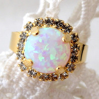 White opal ring, Gold ring, Gemstone ring, opal ring, white stone ring, October birthstone ring, Adjustable ring, Bridal ring, Vintage style