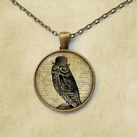 Owl necklace Animal jewelry Bird pendant