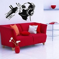 Wall Decor Vinyl Decal Sticker Music Man Singer with Microphone and Headphones Kj248