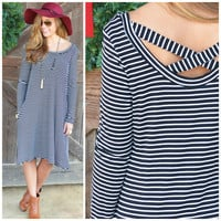 Rise To The Occasion Black & White Striped Dress