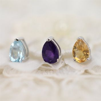 Magic Pieces Sterling Silver Earrings with Faceted Pear Shape Natural Yellow Citrine