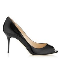 Black Patent Leather High Heels   Peep Toe Shoes   Evelyn   JIMMY CHOO Shoes