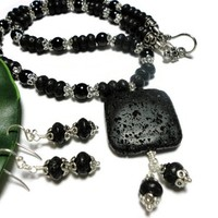 Necklace with Earrings Jewelry Black Lava Rock Crystal Pearls Silver