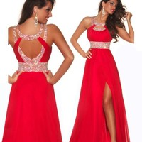 Formal Red Chiffon Evening Ball Cocktail Prom Dress Bridesmaid Dresses Gown(us8, Red)