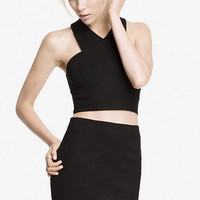 CROPPED CRISSCROSS PONTE KNIT TOP from EXPRESS