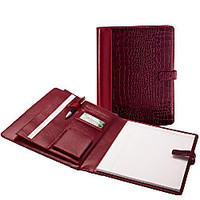 ie Faux Croc Padfolio Red Croc by Office Depot