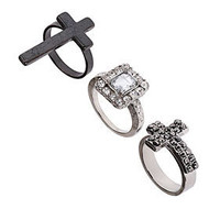 Cross Stone Ring Set - Sensationalist  - Collections