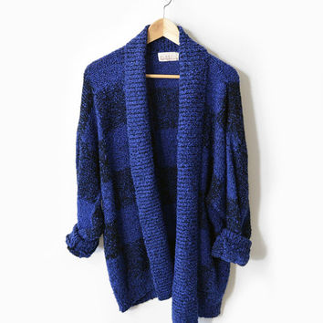 Oversized Electric Black & Blue Checkered Boucle Sweater - xl