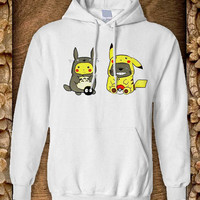 pikachu and totoro Hoodie color black and white by pahpohhoodie