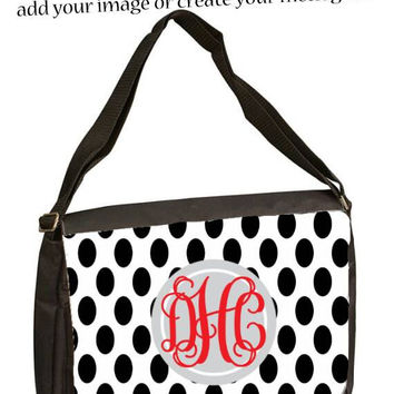 Custom personalized  11 3/4 x 15 Black Shoulder Bag Add your photo image or Logo, great for laptops college school, kids, backpack organizer