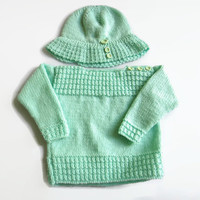 Knit Baby Sweater and Hat Set, Knit Baby Hat, 6-12 Months
