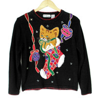 Kitty in a Stocking Tacky Ugly Christmas Sweater