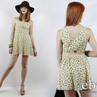 Vintage 90s Soft Grunge Yellow Floral Cutout Mini Dress XS S 90s Floral Dress Yellow Floral Dress Summer Dress 90s Dress 90s Mini Dress
