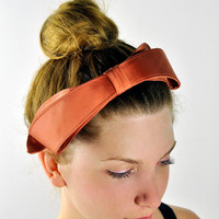 vintage 1950's Peach Blush satin bow headband by PranceAndSwagger