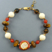 Tigers Eye Bracelet - Rust Brown Tan Chunky Bead Earth Tone Beaded Jewelry