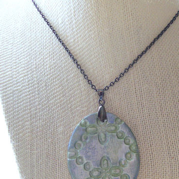 Shabby Chic Gunmetal Essential Oil Personal Diffuser Necklace Aromatherapy Handmade Clay Pendant with Distressed Finish, Gunmetal Chain
