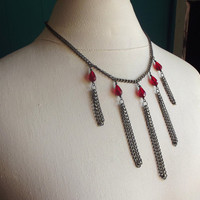 Long Tassel Chain Necklace:  Crimson Red Teardrop Gunmetal Black