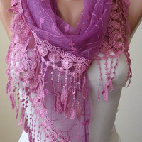 Pink Laced Scarf with Pink Trim Edge  - Speacial Laced Fabric - Triangle