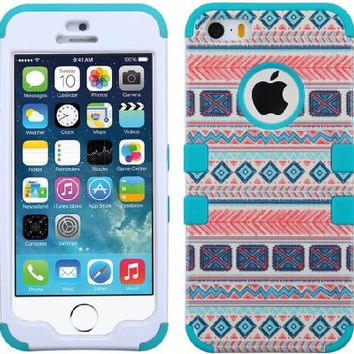 For Iphone 5S 5- Hybrid Triple Layer High Impact Tuff Verge Shield Heavy Duty Hard Cover Fitted Soft TPU Skin Case Protector + Clear LCD Screen Protector Shield Guard + Touch Screen Stylus Pen (Mexican Tribal)