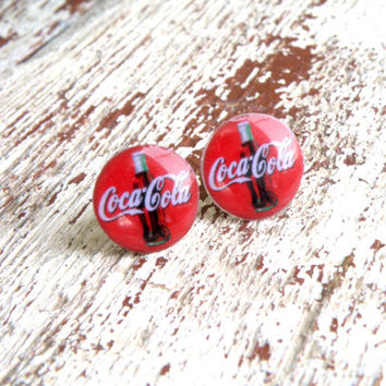 Cute Coca-cola print stud earrings,  Christmas Jewelry with Coca-Cola bottles. Kawaii Gift for her, gift for girl.