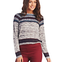 Cozy Striped Marled Knit Sweater | Wet Seal