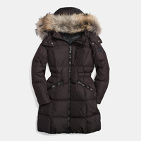 SOLIDlong down coat with fur