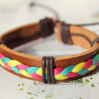 Brown Leather Cuff and Fashion Cotton Thread Weaved Wrap Bracelet C-13