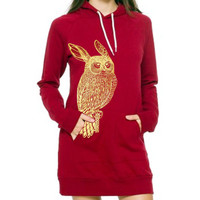 Rowl Rabbit Owl hoodie dress - eco-friendly gold ink screenprint on cranberry cotton fleece - size Medium/One Size (fits USA 0-8)