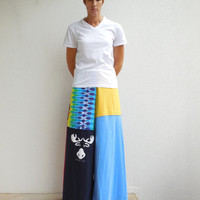 T Shirt Pants / Wide Leg / Palazzo Style / Blue Red Yellow / Canada / Recycled / Upcycled / Winter / Fashion / Cotton / Soft / Fun / ohzie