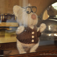 Hand Knitted Angora Puppy Doll Professor 65'' tall by Arcticfoxie