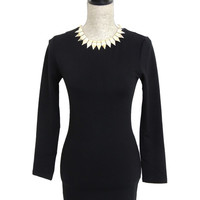 Together At Last Long Sleeve Bodycon Tunic - Black   Daily Chic