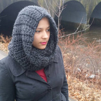 Winter scarf, Chunky hooded cowl in charcoal grey - The Guenevere cowl - Crochet winter scarf, Thick infinity scarf