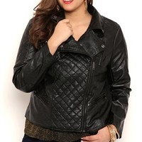 Plus Size Moto Jacket with Quilted Details and Side Zipper